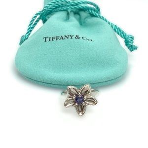Tiffany & Co. Flower Cocktail Ring w/Iolite size 5